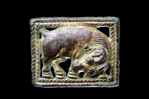 Asian Works of Art  - Chinese Gilded Bronze Open Work Mirroring Belt Plaques