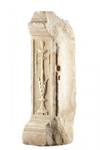 Ancient Roman White Marble Altar Fragment