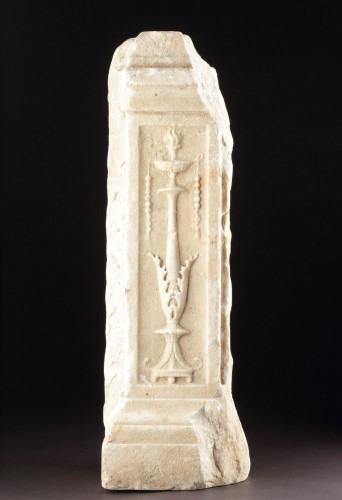 Ancient Roman White Marble Altar Fragment  - Ancient Art Style
