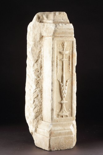 Ancient Art  - Ancient Roman White Marble Altar Fragment