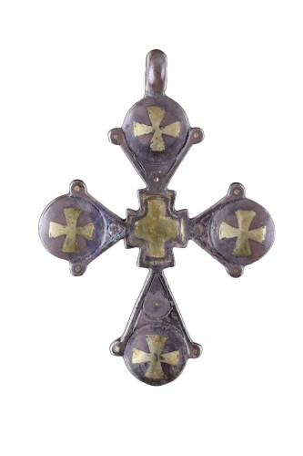 Byzantine Silver and Gold Inlaid Pendant Cross
