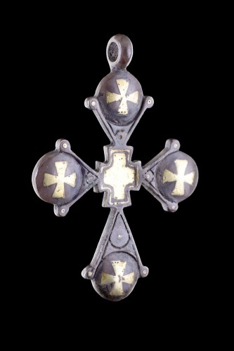Religious Antiques  - Byzantine Silver and Gold Inlaid Pendant Cross