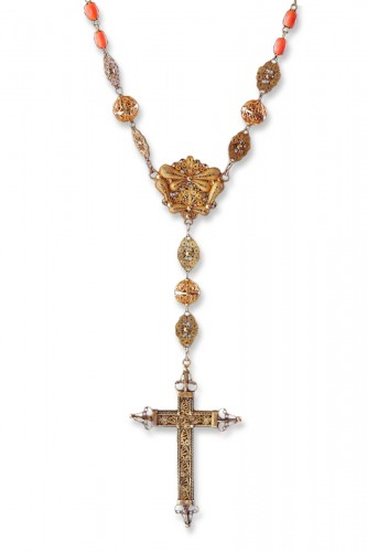 Spanish Gold Filigree and Coral Bead Rosary