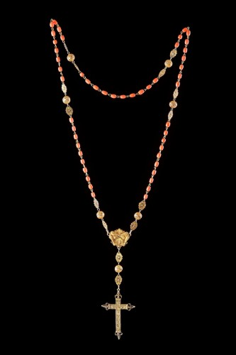 Spanish Gold Filigree and Coral Bead Rosary  - Religious Antiques Style