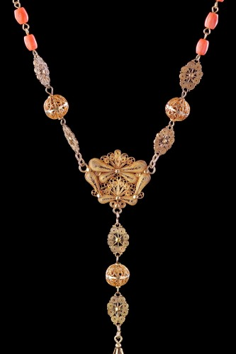 - Spanish Gold Filigree and Coral Bead Rosary