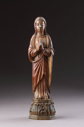 Religious Antiques  - Indo-Portuguese Goa Carved Ivory Devotional Statuette of the Virgin Mary