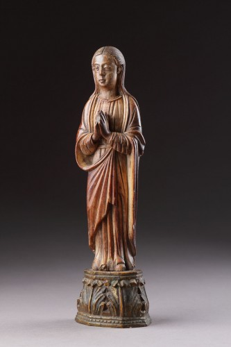 Indo-Portuguese Goa Carved Ivory Devotional Statuette of the Virgin Mary  -