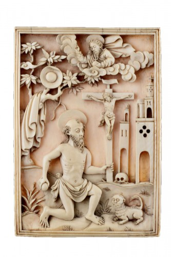 Rare Portuguese Macao Carved Ivory Devotional Plaque Depicting St Jerome