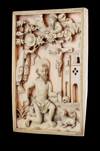 Rare Portuguese Macao Carved Ivory Devotional Plaque Depicting St Jerome  - Sculpture Style