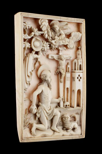 Sculpture  - Rare Portuguese Macao Carved Ivory Devotional Plaque Depicting St Jerome