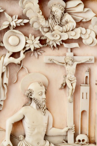 17th century - Rare Portuguese Macao Carved Ivory Devotional Plaque Depicting St Jerome