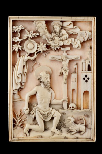 Rare Portuguese Macao Carved Ivory Devotional Plaque Depicting St Jerome  -