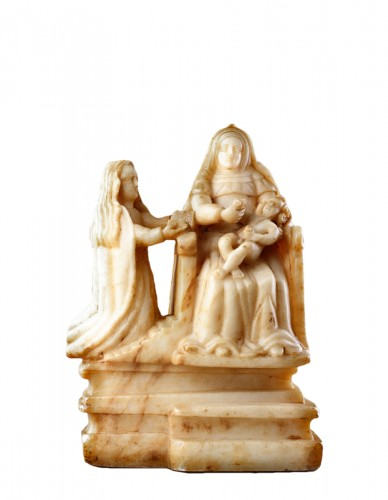 Sicilian Trapani Baroque Carved Alabaster Group Depicting Saint Anne