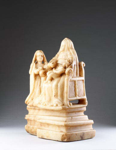 Sculpture  - Sicilian Trapani Baroque Carved Alabaster Group Depicting Saint Anne