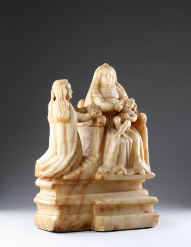 Sicilian Trapani Baroque Carved Alabaster Group Depicting Saint Anne -