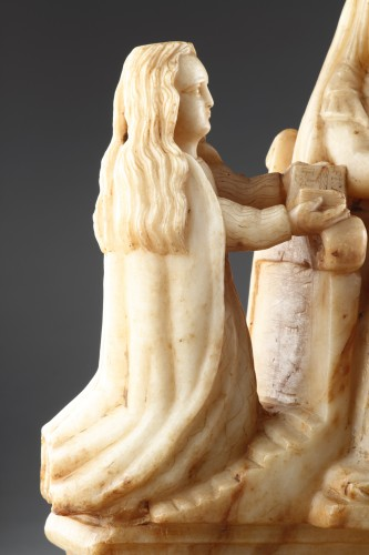 - Sicilian Trapani Baroque Carved Alabaster Group Depicting Saint Anne