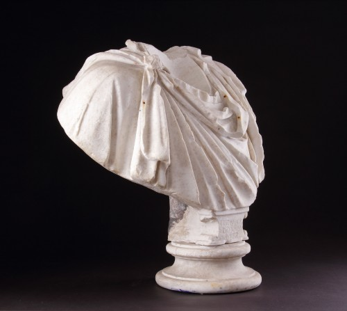 Ancient Roman Marble Shoulders from a Portrait Bust of a Man  - Ancient Art Style