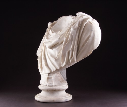 Ancient Roman Marble Shoulders from a Portrait Bust of a Man  -