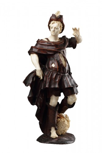 Baroque Walnut and Ivory Figure of David with the Head of Goliath