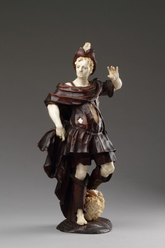Baroque Walnut and Ivory Figure of David with the Head of Goliath  - Sculpture Style