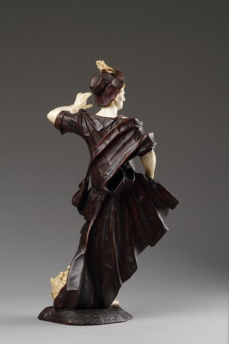 Baroque Walnut and Ivory Figure of David with the Head of Goliath  -