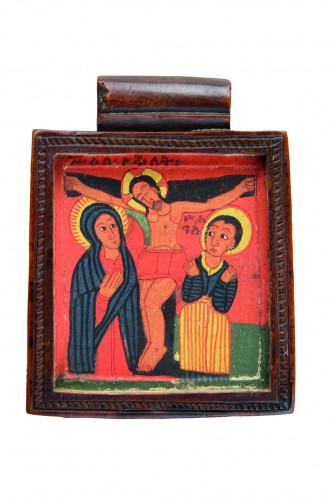 Ethiopian Christian Devotional Double Sided Tablet Pendant - Religious Antiques Style