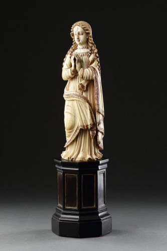 Sculpture  - Carved Indo-Portuguese Ivory Madonna with Hands Clasped in Prayer