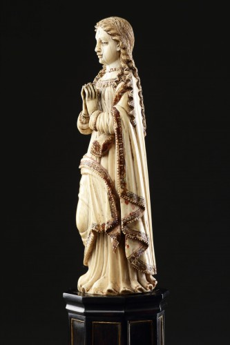 Carved Indo-Portuguese Ivory Madonna with Hands Clasped in Prayer -