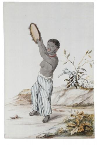 Dutch Watercolour on Paper Depicting a Suriname Plantation Slave Girl