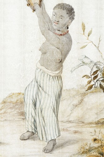 Paintings & Drawings  - Dutch Watercolour on Paper Depicting a Suriname Plantation Slave Girl