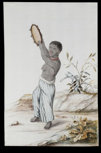 Dutch Watercolour on Paper Depicting a Suriname Plantation Slave Girl  -