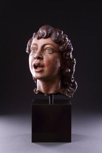 Italian Terracotta Sculpted Head of a Singing Angel - Sculpture Style Renaissance