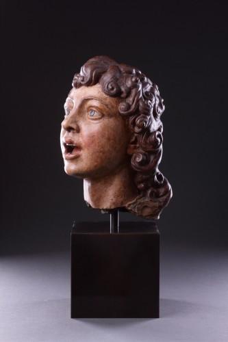 Sculpture  - Italian Terracotta Sculpted Head of a Singing Angel