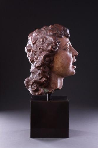 Italian Terracotta Sculpted Head of a Singing Angel -