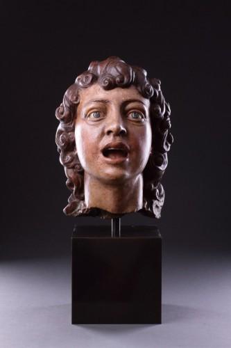 <= 16th century - Italian Terracotta Sculpted Head of a Singing Angel