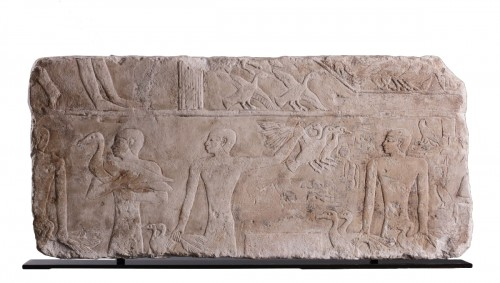 Egyptian Limestone Relief Carved in Shallow Relief