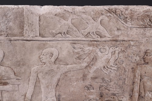 Egyptian Limestone Relief Carved in Shallow Relief - Ancient Art Style