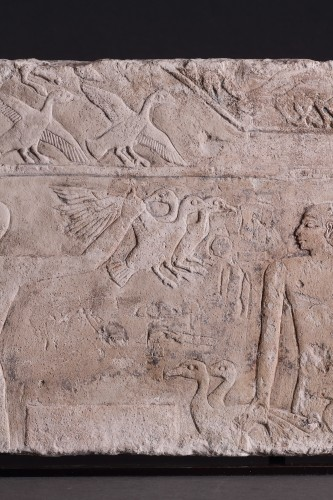 Egyptian Limestone Relief Carved in Shallow Relief -