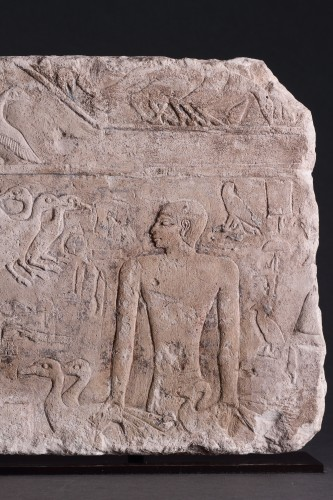 BC to 10th century - Egyptian Limestone Relief Carved in Shallow Relief