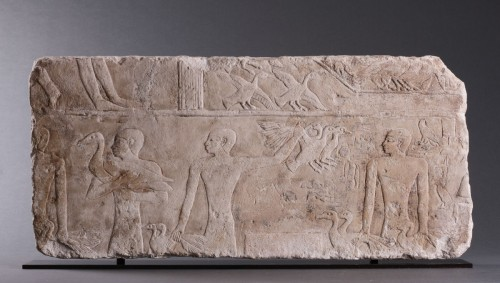 - Egyptian Limestone Relief Carved in Shallow Relief