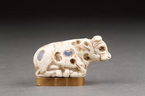 Near Eastern Sumerian Uruk White Limestone Votive Statuette - Ancient Art Style