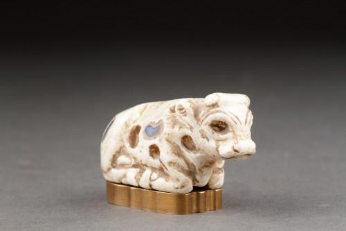 Near Eastern Sumerian Uruk White Limestone Votive Statuette -