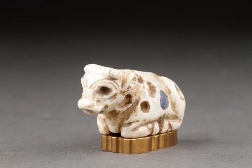 - Near Eastern Sumerian Uruk White Limestone Votive Statuette
