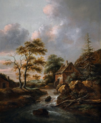 A mountainous Landscape with a Water Mill beside a Stream with a Waterfall