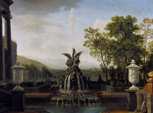 An Architectural Capriccio of an Italianate Palatial Garden - Isaac de Moucheron (1667-1744)