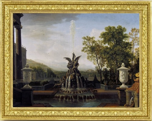 An Architectural Capriccio of an Italianate Palatial Garden - Isaac de Moucheron (1667-1744) - Paintings & Drawings Style