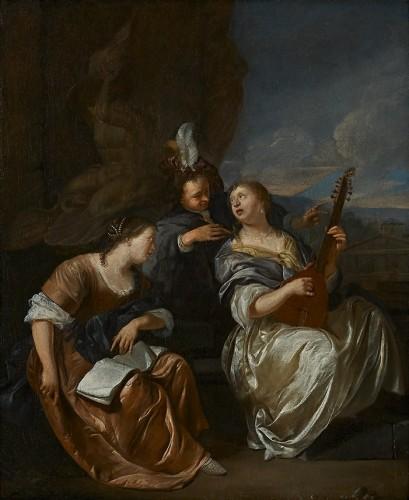 Three elegant Musicians at the Fontana del Tritone, An Allegory on Harmony
