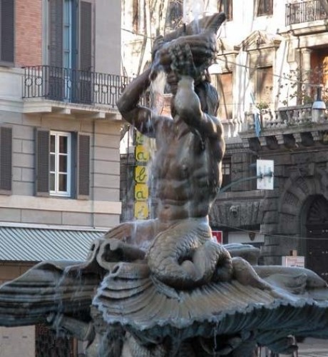Paintings & Drawings  - Three elegant Musicians at the Fontana del Tritone, An Allegory on Harmony