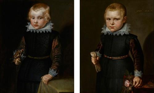 Portrait of a Boy holding a Rose & A Portrait of a Boy holding a Goldfinch
