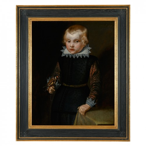 Portrait of a Boy holding a Rose & A Portrait of a Boy holding a Goldfinch - Paintings & Drawings Style